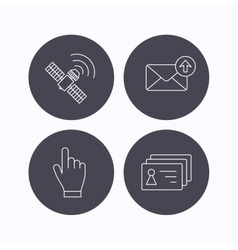 Hand pointer contacts and gps satellite icons vector