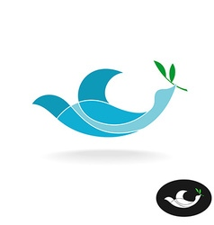 Dove of peace with olive brand colorful overlay vector