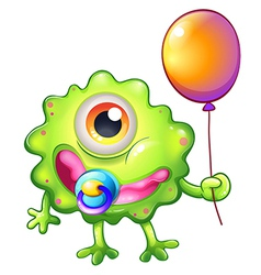 A green monster baby with a balloon vector image