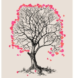A tree of hearts love symbol vector image