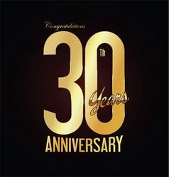 Anniversary golden sign 30 years vector