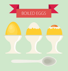 breakfast soft boiled eggs simple flat design vector image vector image