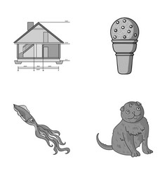 Building animal and other monochrome icon in vector