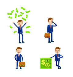 cartoon businessman character set vector image vector image