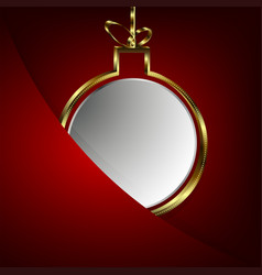 christmas red background with white ball in gold vector image vector image