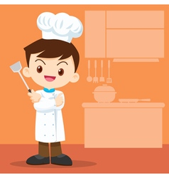 Cute boy Chef look smart vector image