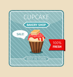 Cute card red cupcake with wafer vector