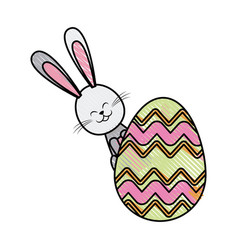 Drawing easter rabbit funny decoration vector