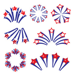 Fireworks salute in traditional colors usa set of vector
