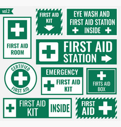 first aid label vector image