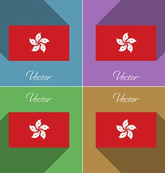 Flags Hong Kong Set of colors flat design and long vector image
