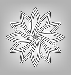 Flower sign pencil sketch imitation dark vector