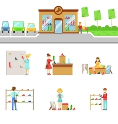 Footwear store exterior and people shopping set of vector