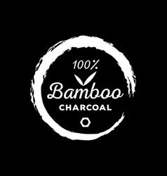 Guarantee logo one hundred bamboo charcoal with vector