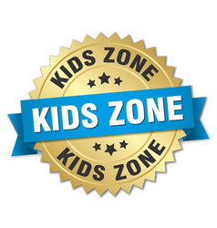 Kids zone round isolated gold badge vector