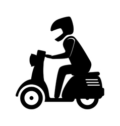 Man riding scooter motorcycle vector