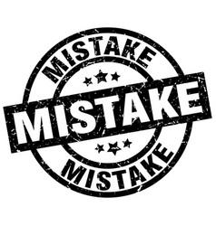 Mistake round grunge black stamp vector
