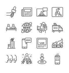 news line icon set vector image vector image