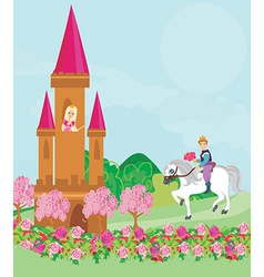 Prince riding a horse to the princess vector image vector image