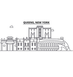 Queens new york architecture line skyline vector