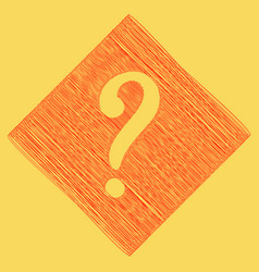 Question mark sign red scribble icon vector