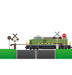 railroad crossing 04 vector image vector image