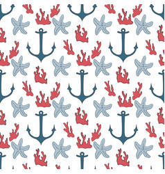seamless pattern of marine symbols vector image vector image