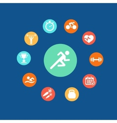 Set health and fitness circular icons infographics vector