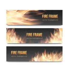 Set of realistic transparent fire flame banners vector