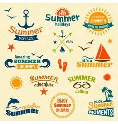 Summer element label set vector image vector image