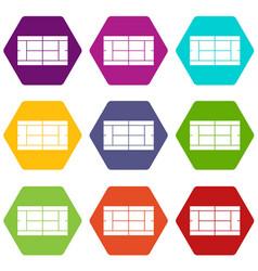 tennis court icon set color hexahedron vector image vector image