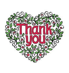 Thank you hand lettering in shape of heart vector
