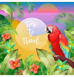 Tropical vacation banner exotic island beach vector
