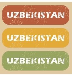 Vintage uzbekistan stamp set vector