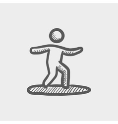 Wakeboarding sketch icon vector image