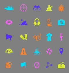 Waterway related color icons on gray background vector