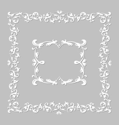 White frame with floral ornament vector image