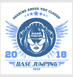 Wingsuit flying base-jumping sport emblem vector