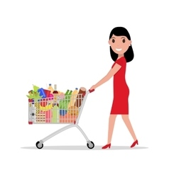Woman with shopping trolley full groceries vector