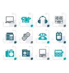 stylized electronics media technical equipment vector image