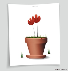 Red flower plant in vector