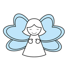 Color silhouette image of decorative angel vector