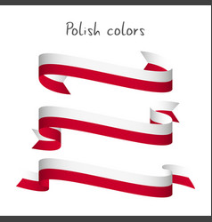 Set of three ribbons with the polish colors vector