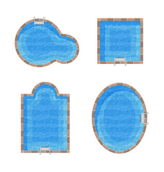 Different forms swimming pools set top view vector