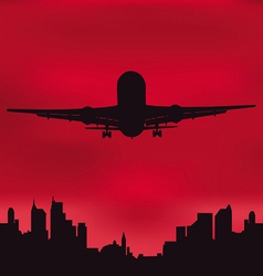 The plane against the night city vector image