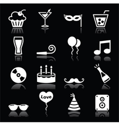 Party icons set - birthday new years christmas vector
