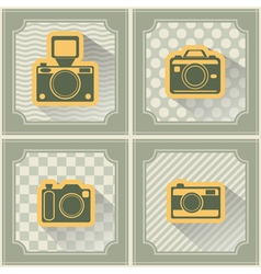 Seamless background with photo camera symbols vector
