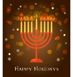 Hanukkah menorah greeting on brown background vector image