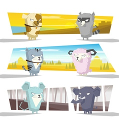 Animals collection team c vector