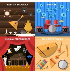 Musical instruments concept icons set vector
